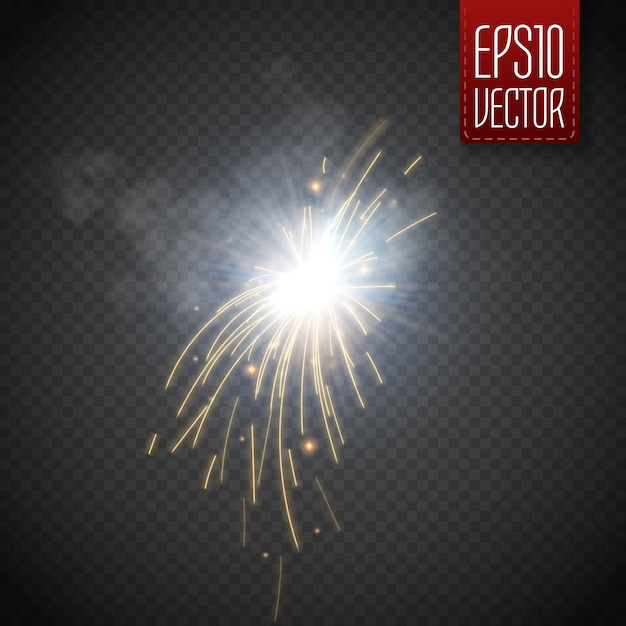 El fuego chispea efecto de luz brillante aislado Vector Premium