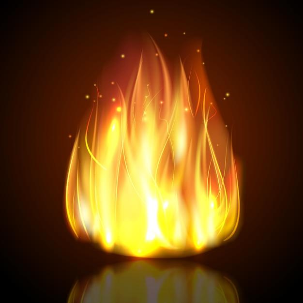 Fuego en el fondo oscuro vector gratuito