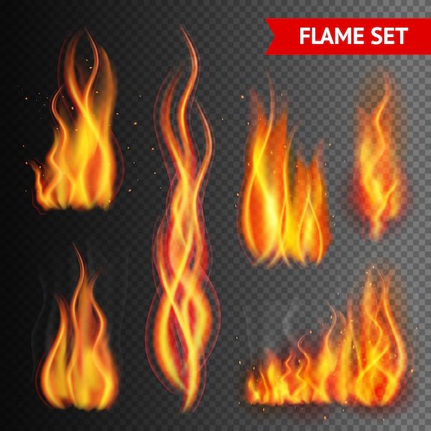 Fuego en el fondo transparente vector gratuito