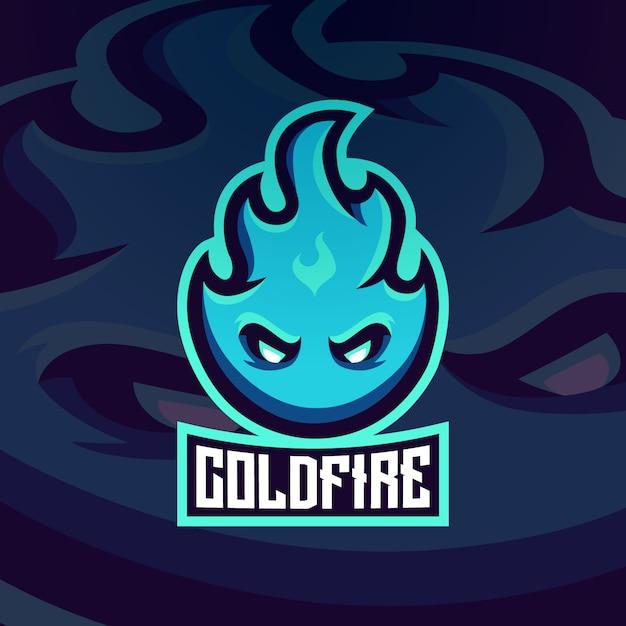 Fuego hielo llama resplandor caliente mascota logotipo Vector Premium