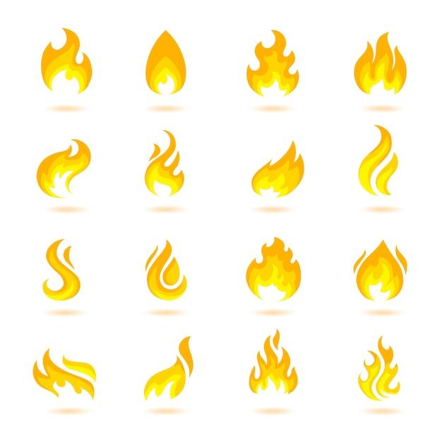 Fuego llama quemar llamarada llamarada infierno iconos ardiente aislado ilustración vectorial vector gratuito