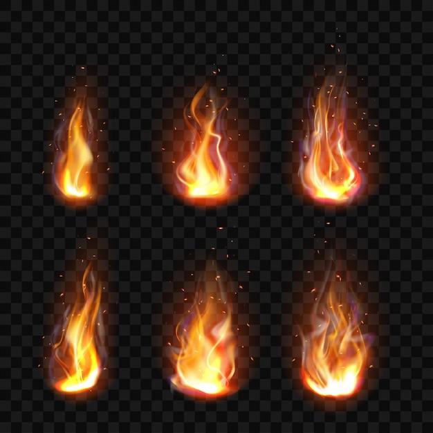 Fuego realista, llama de antorcha conjunto clip art aislado vector gratuito