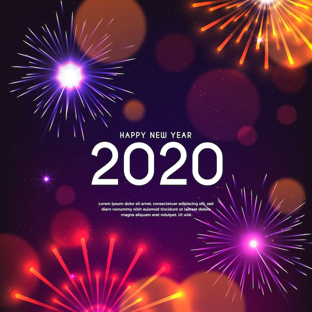 Fuegos artificiales año nuevo 2020 vector gratuito