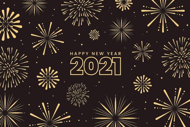 Fuegos artificiales año nuevo 2021 Vector Premium