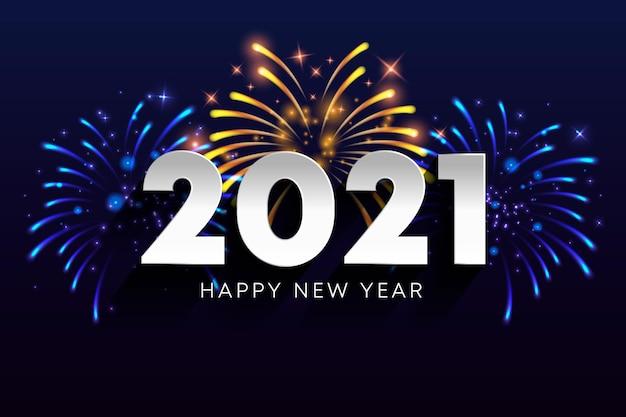 Fuegos artificiales año nuevo 2021 vector gratuito