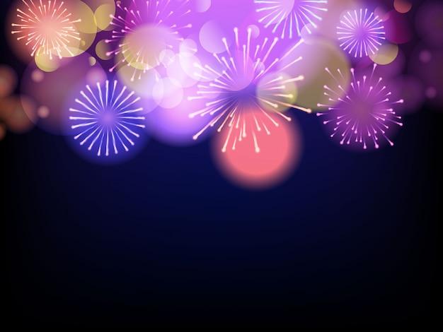 Fuegos artificiales de celebración sobre un fondo morado Vector Premium