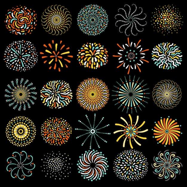 Fuegos artificiales festivos colección de iconos redondos vector gratuito
