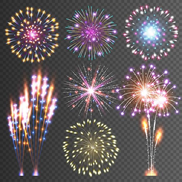 Fuegos artificiales festivos Vector Premium