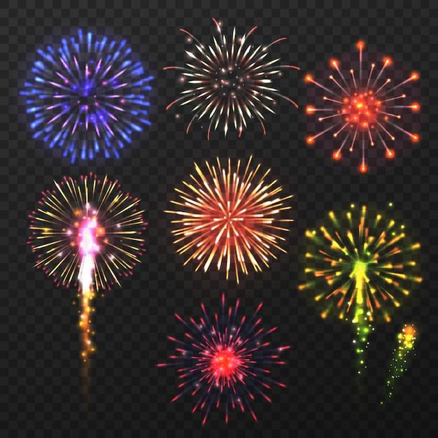 Fuegos artificiales realistas. carnaval explosión de fuegos artificiales multicolores, elementos pirotécnicos de celebración del día de navidad Vector Premium
