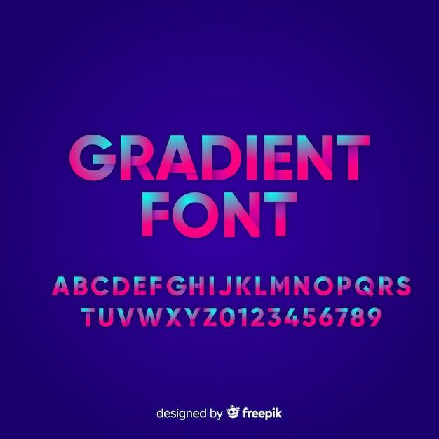 Fuente con alfabeto en estilo degradado vector gratuito