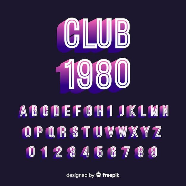 Fuente con alfabeto en estilo retro vector gratuito