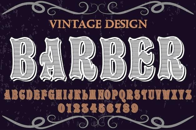 Fuente alfabeto hecho a mano vector llamado barbero Vector Premium