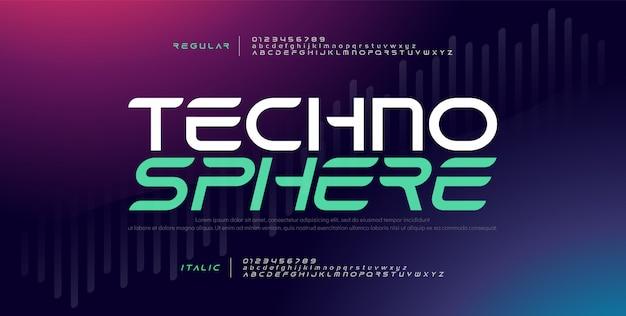Fuente de alfabeto moderno electrónico digital de tecnología Vector Premium