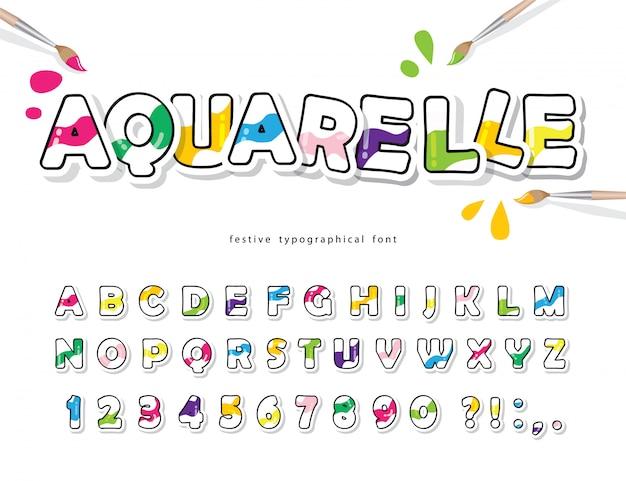 Fuente colorida de dibujos animados para niños. alfabeto creativo aquarelle. Vector Premium