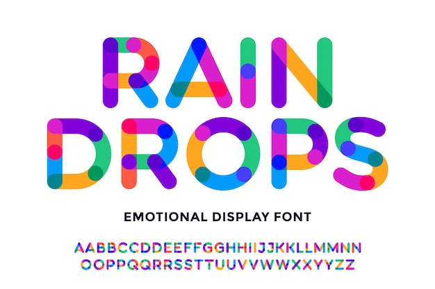 Fuente colorida fuente y alfabeto brillante colorido Vector Premium
