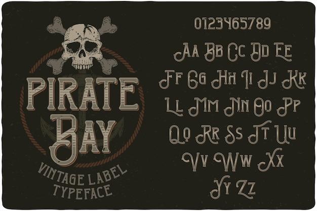 Fuente de etiqueta vintage de pirate bay Vector Premium