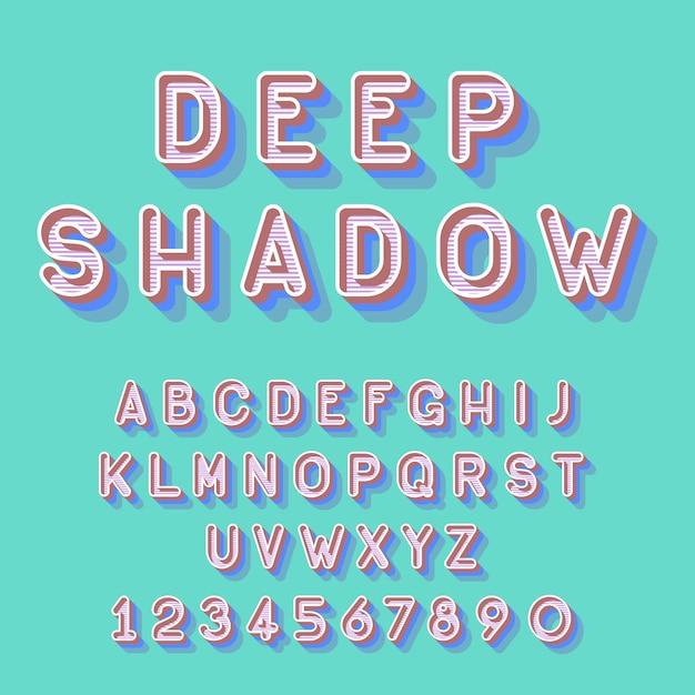 Fuente isométrica profunda fresca, letras del alfabeto números vector gratuito