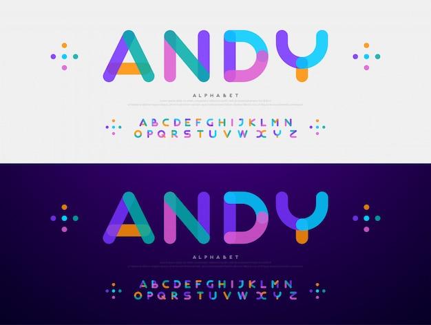 Fuente moderna fuentes de color de alfabeto redondeadas creativas Vector Premium