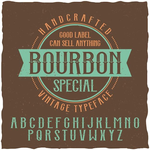 Fuente y muestra de la etiqueta bourbon vector gratuito