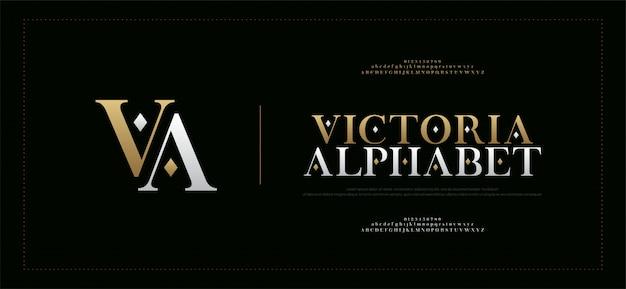 Fuente y número serif elegantes de las letras del alfabeto Vector Premium