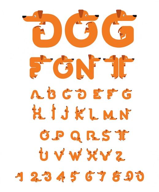 Fuente de perro. alfabeto dachshund letras de animales de origen. mascota abc Vector Premium