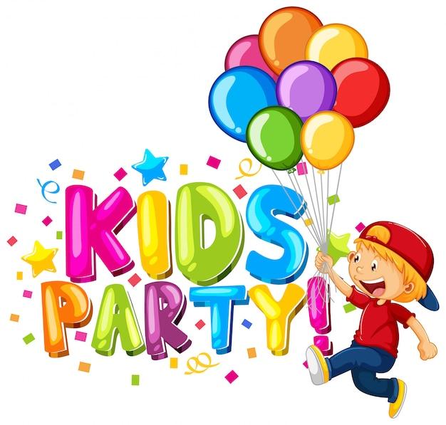 Fuente para word kids party con niños felices vector gratuito