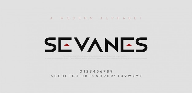 Fuentes abstractas del alfabeto urbano moderno. tipografía deportiva, simple, tecnología, moda, digital, fuente de logotipo creativo futuro. Vector Premium