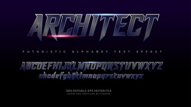 Fuentes del alfabeto del arquitecto futurista moderno con efecto de texto Vector Premium