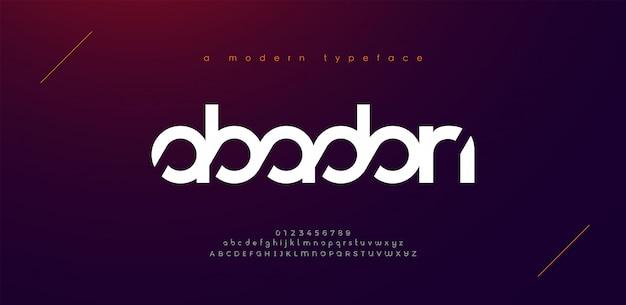 Fuentes del alfabeto moderno deporte abstracto. tipografía tecnología electrónica deporte digital juego música futuro creativo fuente. Vector Premium