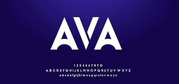 Fuentes del alfabeto moderno futurista digital abstracto Vector Premium