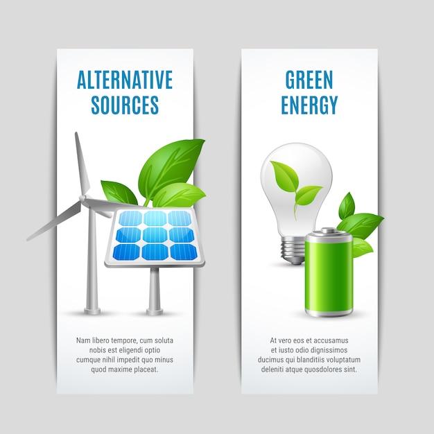 Fuentes alternativas y pancartas de energía verde vector gratuito