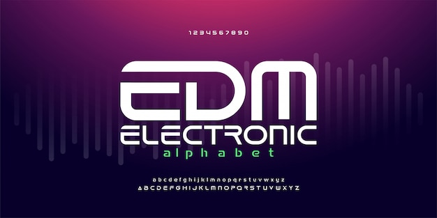 Fuentes digitales del alfabeto de la música de la danza del edm digital Vector Premium