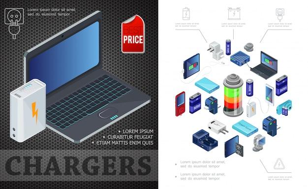 Fuentes isométricas de composición de carga con el banco de energía de la computadora portátil enchufa cargadores de baterías para dispositivos modernos vector gratuito