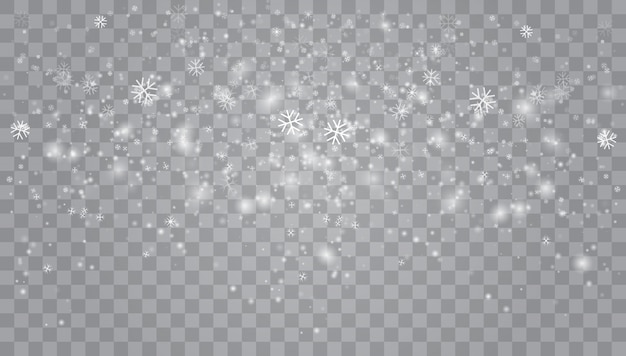 Fuertes nevadas, copos de nieve en diferentes formas y formas. Vector Premium