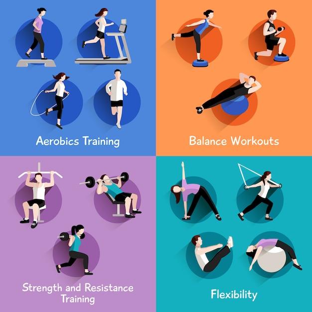 Fuerza aeróbica de fitness y modelado corporal ejercicios 4 iconos planos vector gratuito