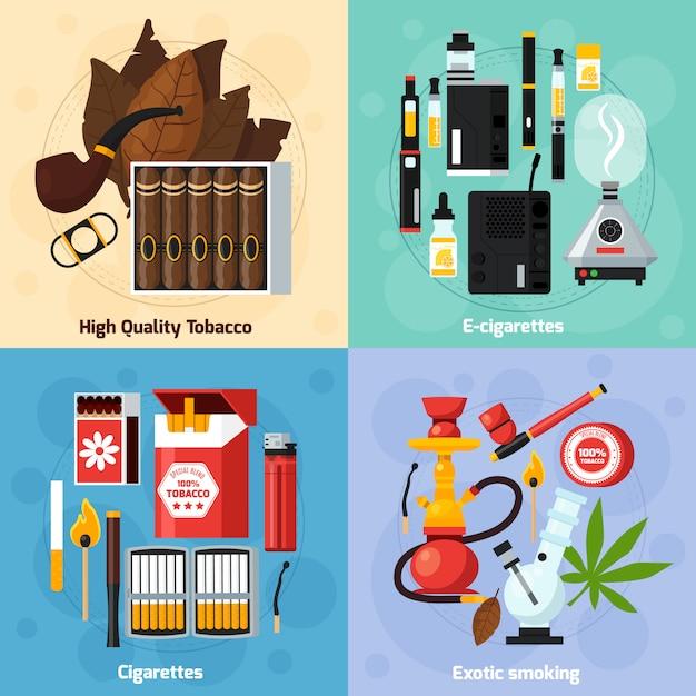 Fumar 2x2 concepto de diseño plano vector gratuito