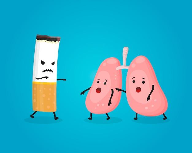 Fumar mata los pulmones. deje de fumar, comcept. el cigarrillo mata. ilustración de personaje de dibujos animados plana Vector Premium