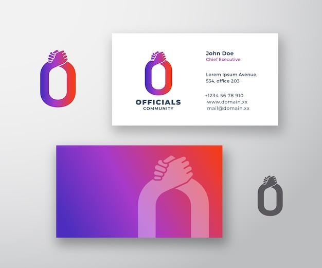 Funcionarios resumen logotipo y tarjeta de visita vector gratuito