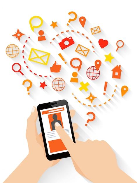 Funciones de una aplicación móvil vector gratuito