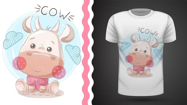 Funny teddy cow - idea para imprimir camiseta Vector Premium