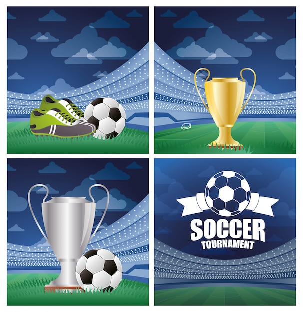 Fútbol con balón de fútbol con silbato de árbitro y copa de trofeo Vector Premium