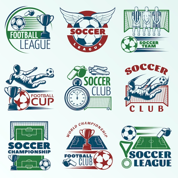 Fútbol emblemas de colores con jugadores equipos deportivos trofeos árbitros objetos vector gratuito