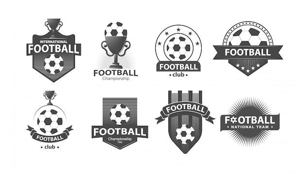 Fútbol fútbol insignia logotipos e insignias Vector Premium