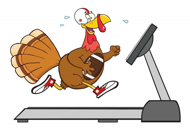Fútbol pavo pájaro personaje de dibujos animados corriendo en una cinta rodante Vector Premium
