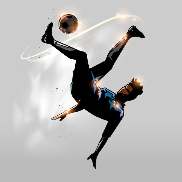 Futbol sobre cabeza Vector Premium
