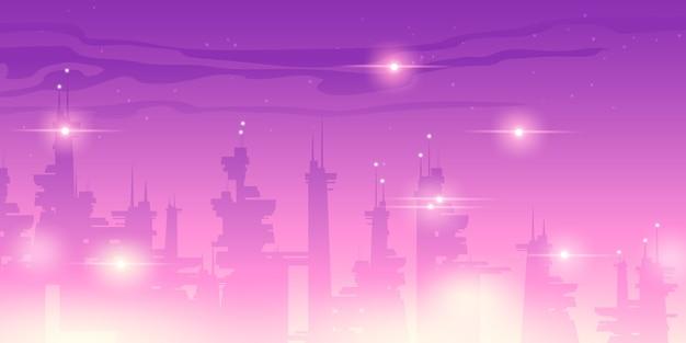 Futura ciudad nocturna con rascacielos futuristas vector gratuito