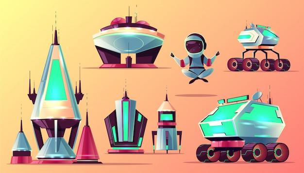 Futuro espacio explorando tecnologías, planetas colonización arquitectura dibujos animados vector gratuito