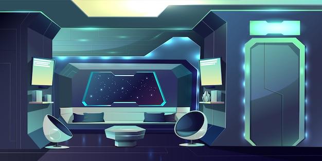Futuro nave espacial tripulación cabina futurista interior ilustración de dibujos animados. vector gratuito