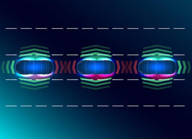 Futuros conceptos de auto inteligente. hud, gui, holograma el sistema de frenado automático evita un accidente automovilístico. Vector Premium