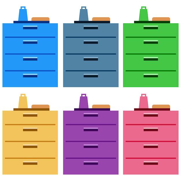 Gabinetes de cocina coloridos con cajones Vector Premium
